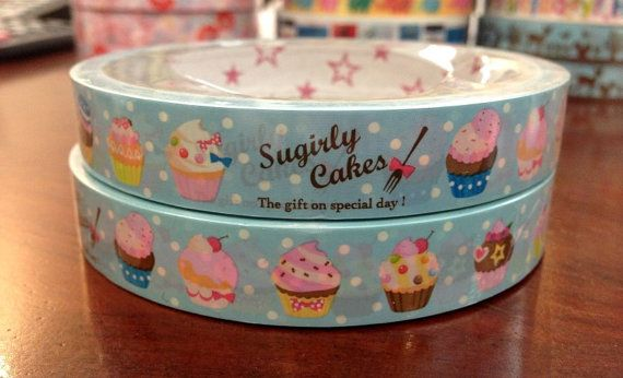 Cupcakes Deco Tape Adhesive Stickers DT465 25 meters by CharmTape, $2.55