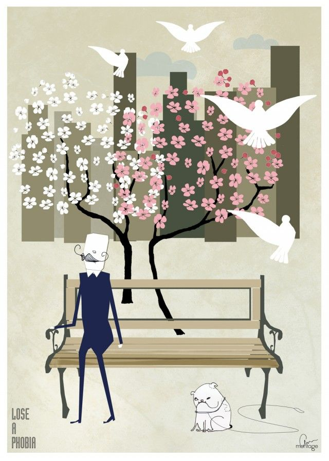 Lose a phobia, amazing illustration by Anna Handell! #nordicdesigncollective #annhandell #annahandellmontage #loseaphobia #cherrytree #cherryblossom #cherryblossoms #spring #springfeeling #springfeelings #feelings #man #dog #bench #park #bird #dove #white #pink #poster #print  #takeawalk #illustration #mustasche #city #citylife #skyscraper #wood #blue #suit