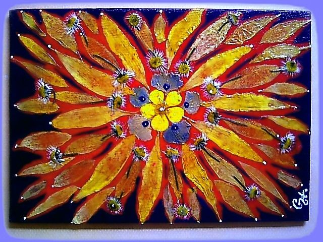 """""""Red"""" Mandala - Original acrylics, mixed media on flat canvas board. - Size: 5"""" x 7"""" - Finished with UV varnish to protect against sunlight, dust damage and moisture-resistant. - Ready to hang -"""