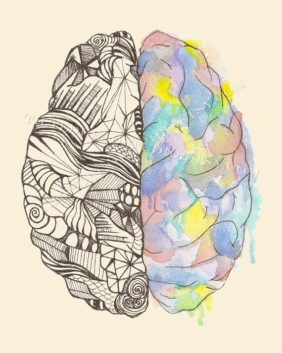 Brain Hemispheres Print Neurology MBTI Myers Briggs Duality Neuroscience Science Art Psych Psychology Psychiatry Ink