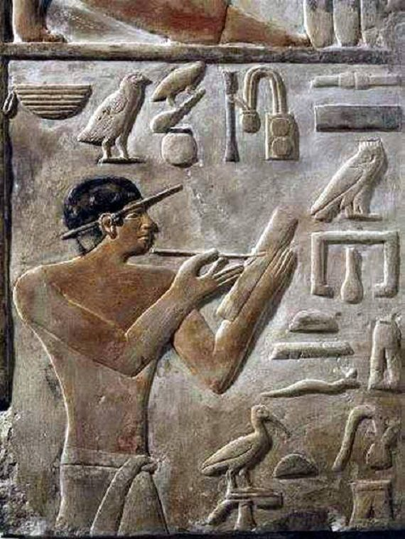 Very interesting relief from Mastaba at Saqqaara, depicting an architech of Kagemni, the architect has a pencil on his ear while working Old Kingdom, 6th Dynasty during the reign of Teti  Kagemni was a vizier from the early part of the reign of King Teti of the Sixth dynasty of Egypt. Kagemni's wife Nebtynubkhet Sesheshet was a King's Daughter and likely the daughter of Teti.