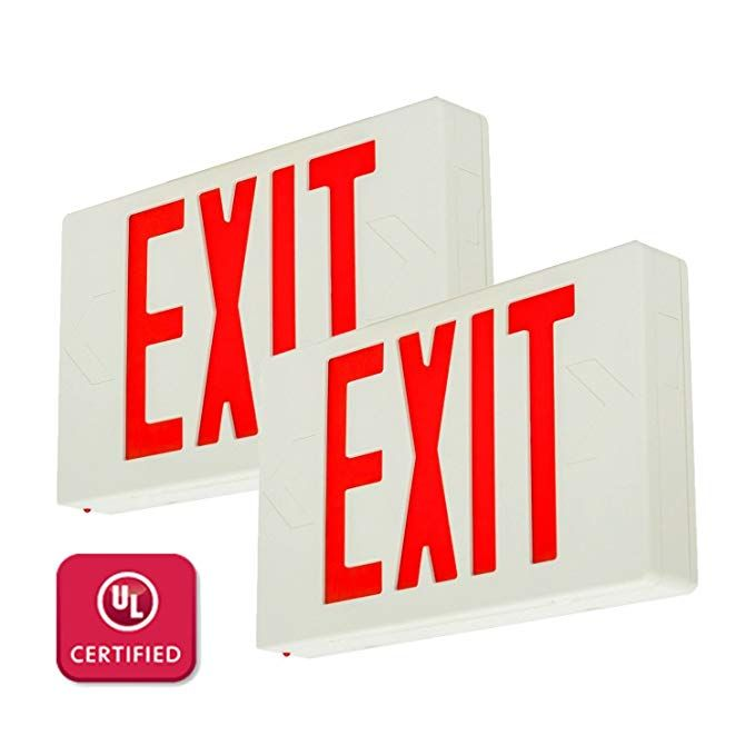 Lfi Lights 2 Pack Ul Certified Hardwired Red Led Exit Emergency Sign Light Standard Battery Backup Ledrbbx2 Review Sign Lighting Light Standard Red Led