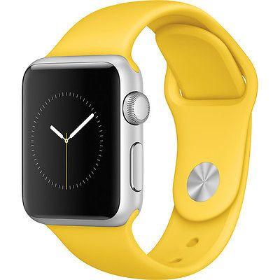 Apple Watch Sport 38mm (2015, Silver Aluminum Case, Yellow Sport Band)