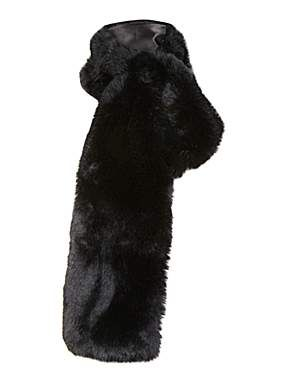 Black faux fur slot through scarf