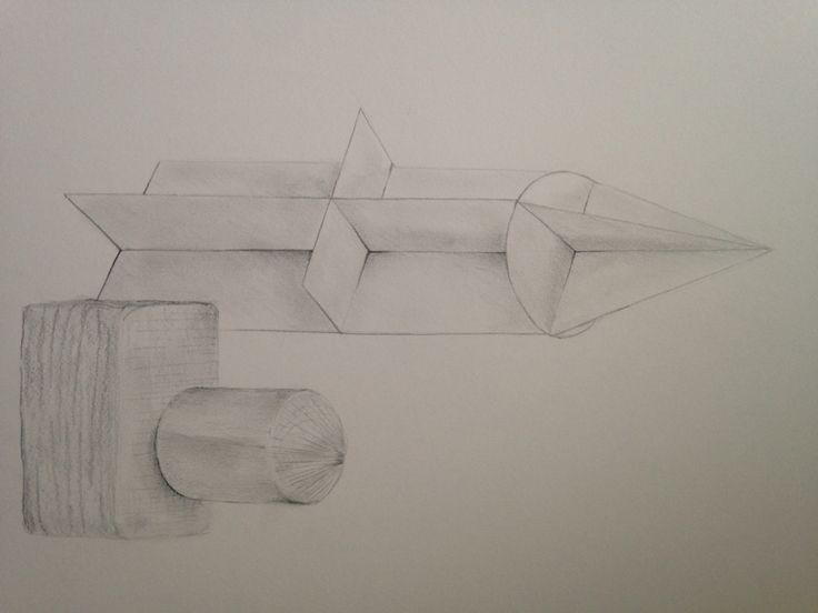 Large pencil drawing of shapes