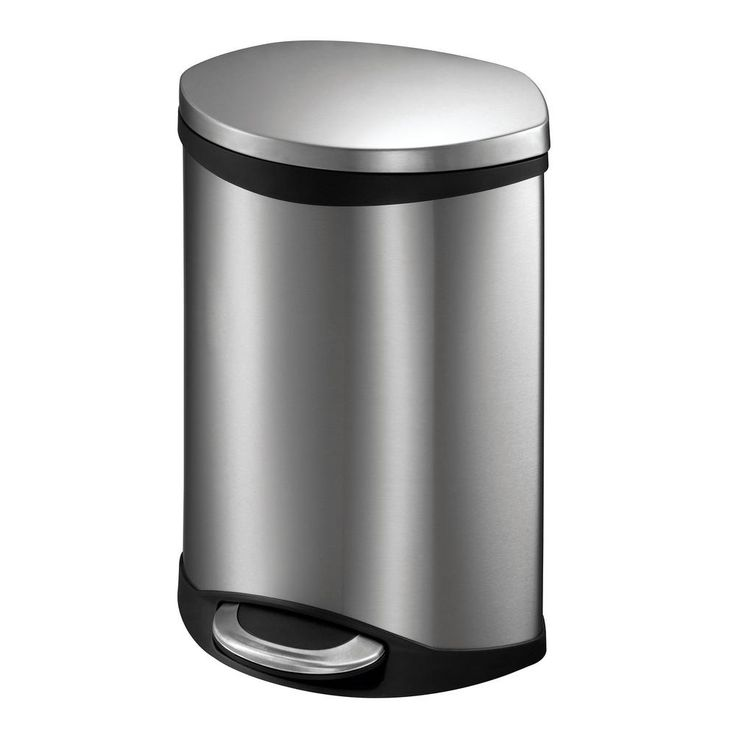 1.5 Gal. Shell Step Bin with Soft Close in Stainless, Silver Metallic