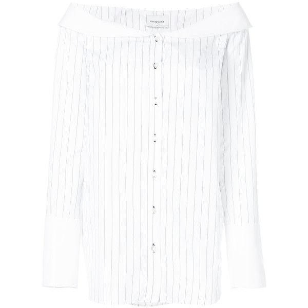 Monographie striped bardot shirt (46550 RSD) ❤ liked on Polyvore featuring tops, white, white top, striped cotton shirt, striped shirt, shirt top and stripe top