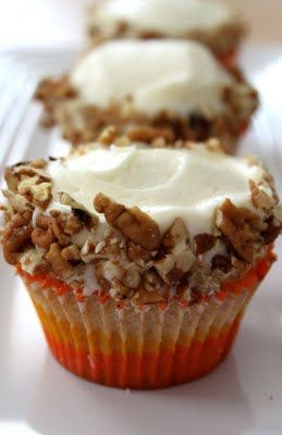 Carrot Cupcakes with Cream Cheese Frosting (Baked Perfection). Like the idea of