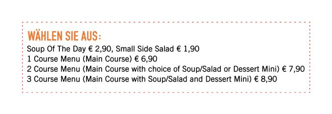 LUNCH MENU ab € 6,90