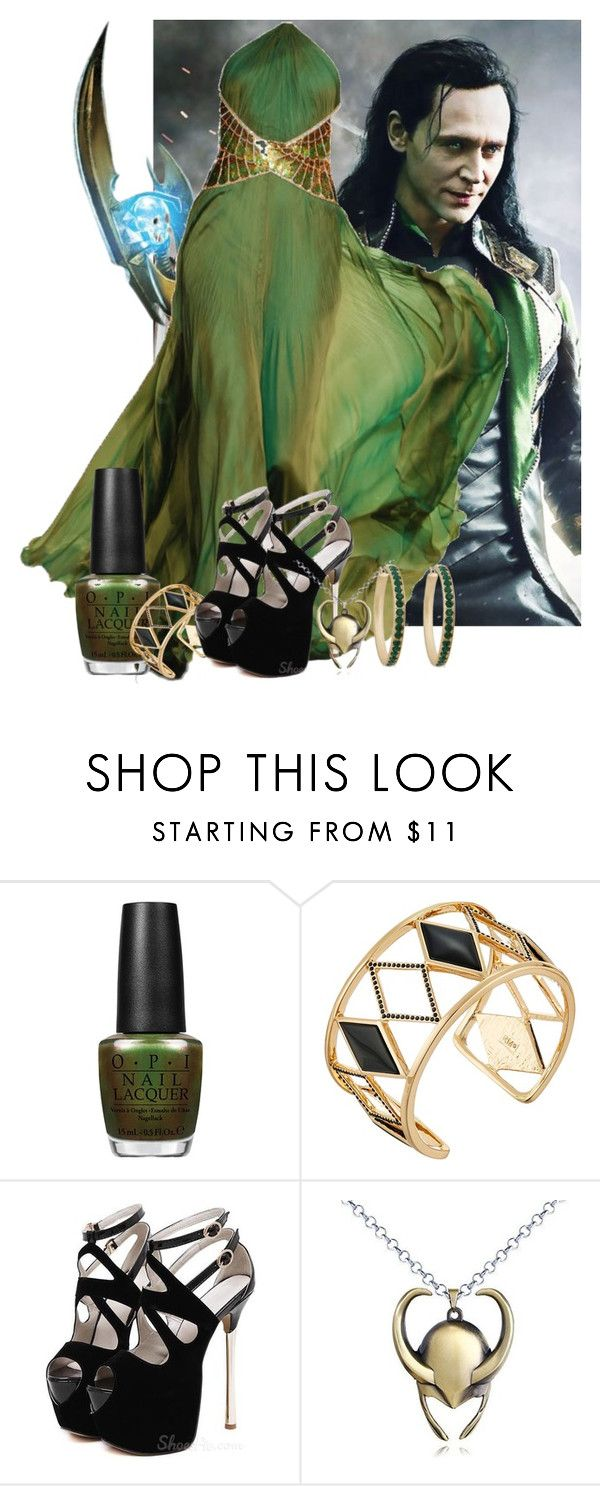 """Lady Loki"" by a-broke-in-heart ❤ liked on Polyvore featuring Relic, Roberto Cavalli, OPI, Rebecca Minkoff, Erica Lyons and rachelsfashion"