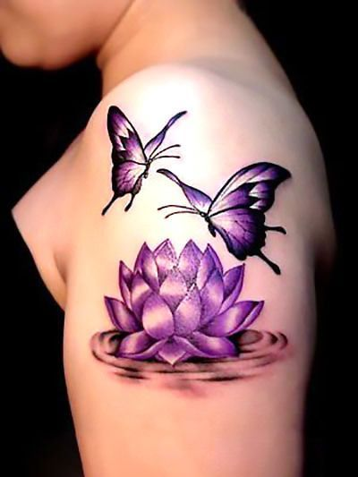 Sexy purple lotus flower with butterflies. Elegant and sophisticated tattoo with gentle lines, represents freedom, love, friendship, life and a new beginning.