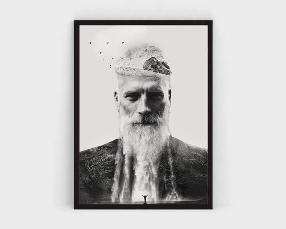 PRINTABLE Black and White Art Print, Man Portrait, Large Unique Poster, Double Exposure, Nature, Mountains, Waterfall, BW Photography Art