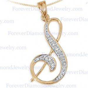 Gold & Real Diamond Initial Pendant Letter S