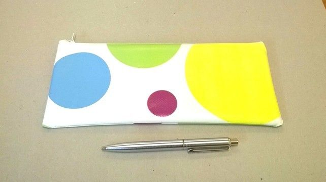 Large pencil case in white with bright spots, wipe clean outer, gift