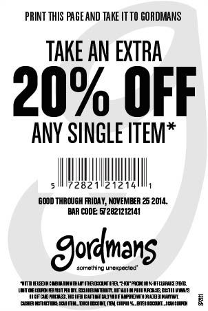 November Gordmans Coupon (you don't have to print it)