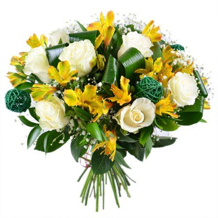 """Bouquet """"Florist"""" - colourful combination of 9 white roses, 10 yellow alstroemerias and 2 white gypsophilas"""