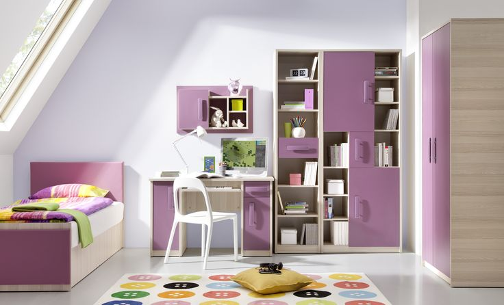 Furniture for teens. Different colors. Includes: desk, 2 shelves, wall cabinet, wardrobe, bed. #teeneger #room #bed