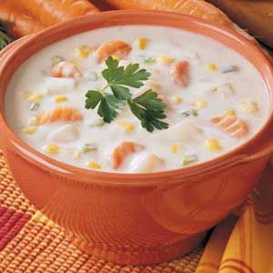 Halibut Chowder....cant go wrong here!!! Use fresh vegetables and also I add green peppers and shredded sharp cheddar cheese!!