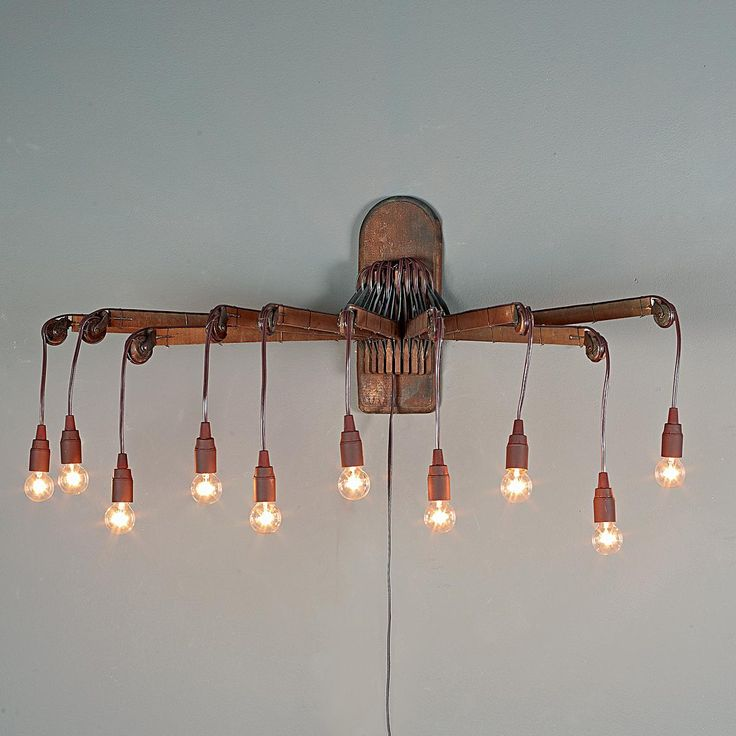 Repurposed Vintage Wooden Drying Rack Sconce  Shades of Light