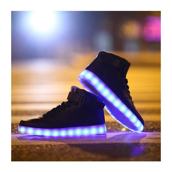 LED Light-up Midtop Shoes White hightop sneaker with color changing,... ❤ liked on Polyvore featuring shoes, sneakers, holiday shoes, hi tops, white evening shoes, high top sneakers and white shoes