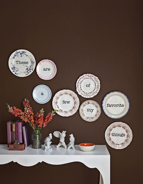 Use decals to create word art on thrifted china plates