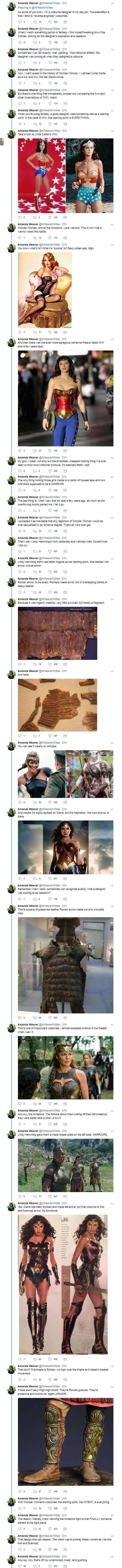 The Wonder Woman costume - there has been a lot of discussion about Gal Gadots costume. So thank you for this.