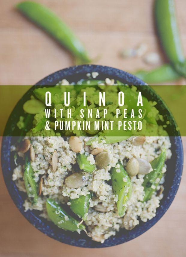 Quinoa with Snap Peas + Pumpkin Mint Pesto