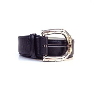 Bulgari unisex chestnut brown leather belt with dual tone buckle   swapshop.gr
