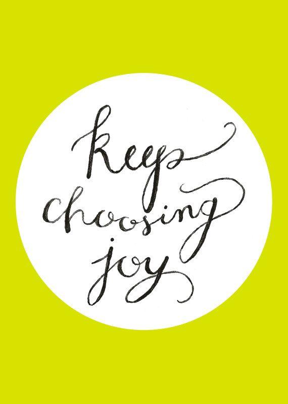 Keep Choosing Joy  Chartreuse Hand Painted by SwoonPaperMarket