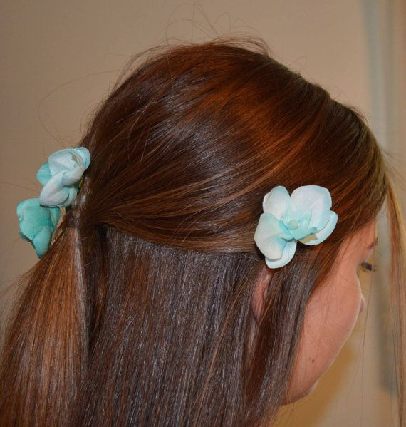 set of FOUR contrasting teal aqua orchid hair clips by LovelyDawn