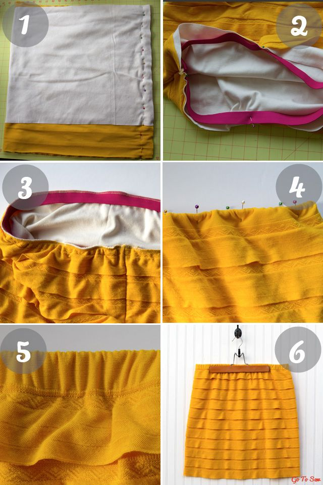 Great tutorial for sewing with ruffle knit fabric. How to make a lined skirt.