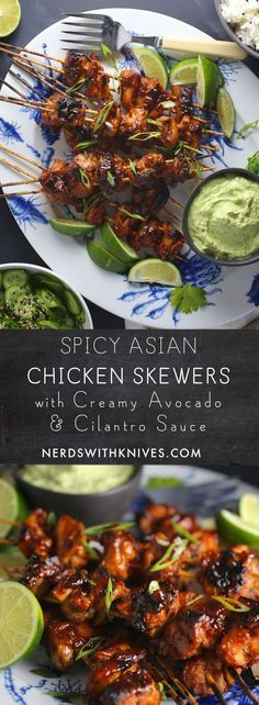 Spicy Asian Chicken Skewers with Creamy Avocado and Cilantro Sauce