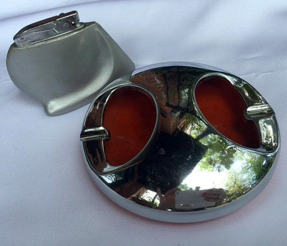 Vintage HADSON lighter and orange/silver ashtray by VintageDeParis