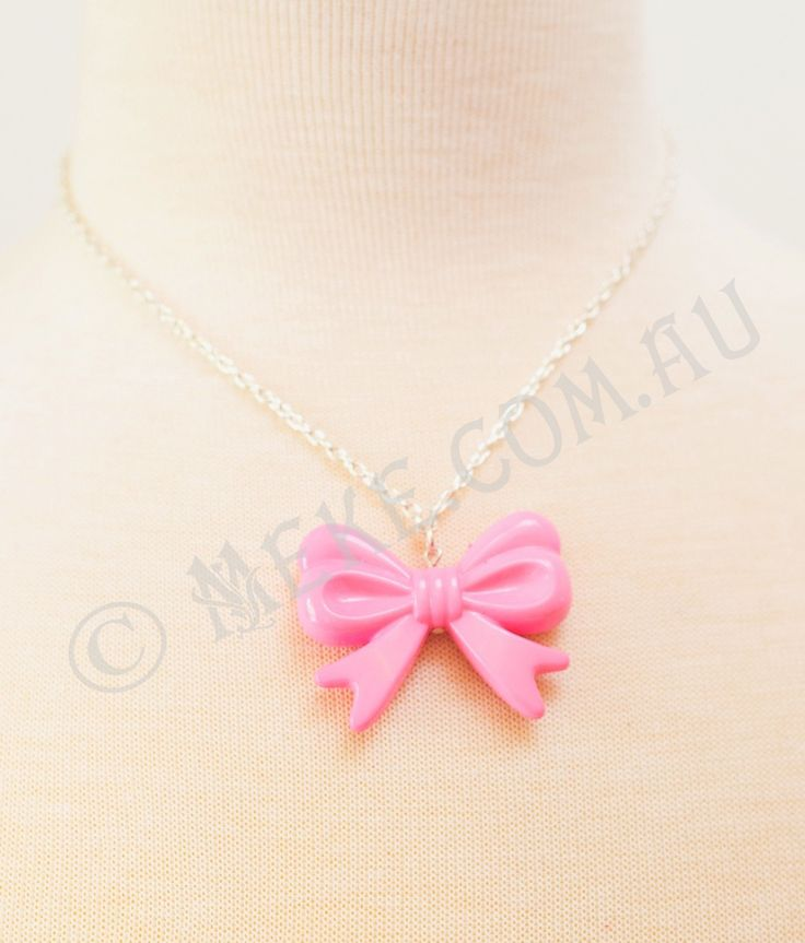 : : Little Bow Peep Necklace : :  An adorable handcrafted necklace featuring a candy pink acrylic bow centrepiece pendant on a silver chain with parrot clasp and adjustable extension chain. Too cute!!! Visit my Etsy store for more info, or to purchase: https://www.etsy.com/au/listing/152506903/little-bow-peep-necklace-candy-pink?ref=shop_home_active Handmade with love and care by Marianne ❤
