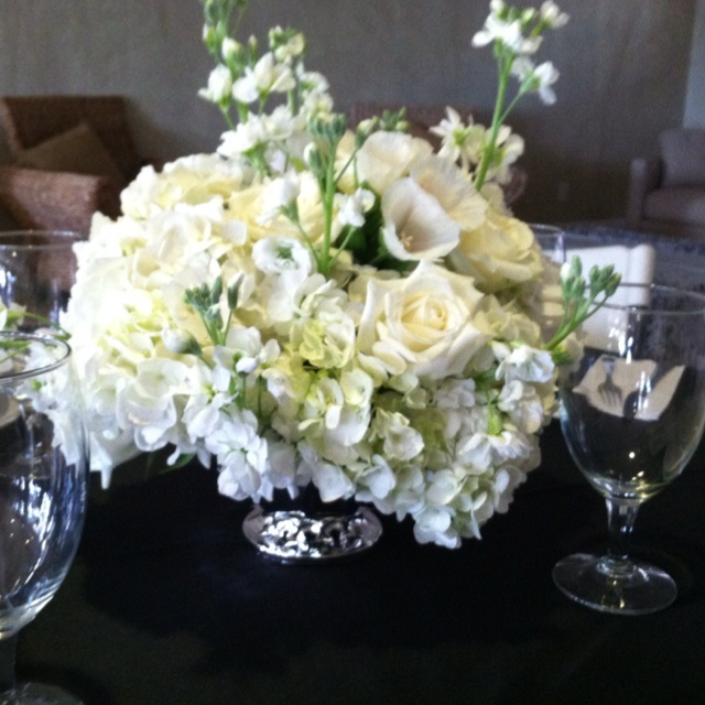 Low Centerpieces In Silver Footed Bowl Hydrangea Stock