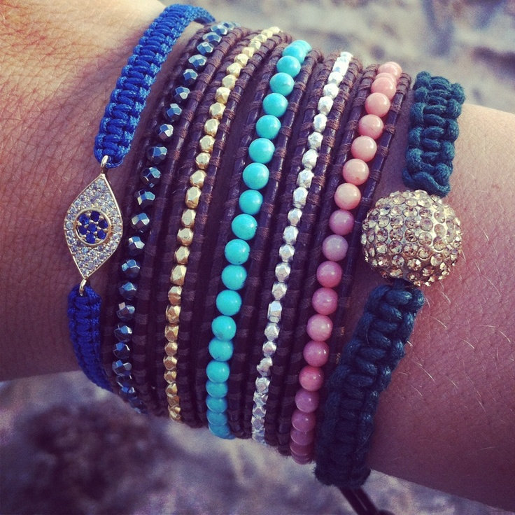 Arm Party love!Stacked Bracelets, Wraps Bracelets, Beads Bracelets, Style, Blue, Diy Bracelets, Arm Candies, Arm Parties, Eye