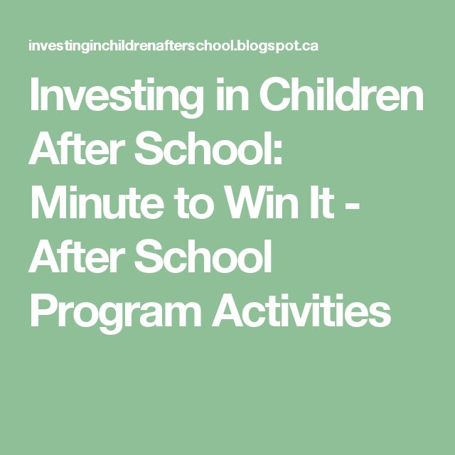 investing in children after school  minute to win it