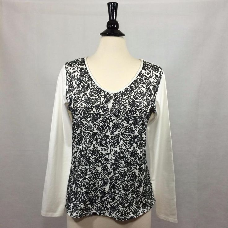 COLDWATER CREEK  Size MEDIUM M 10 12 Sequined Long Sleeve Tee Shirt Womens EUC #ColdwaterCreek #TeeShirt…