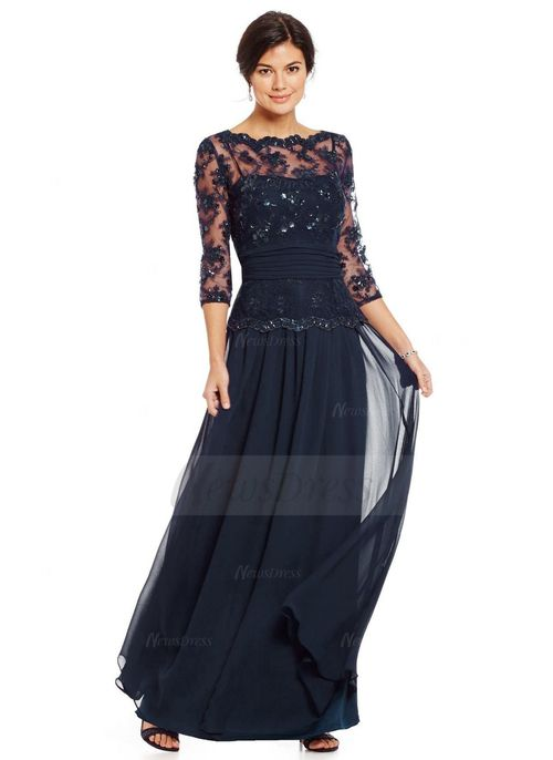 A-Line/Princess Scoop Neck Floor-Length Ruffle Lace Beading Sequins Chiffon Zipper Up Sleeves 3/4 Sleeves No Champagne Dark Navy Grape Spring Summer Fall Mother of the Bride Dress