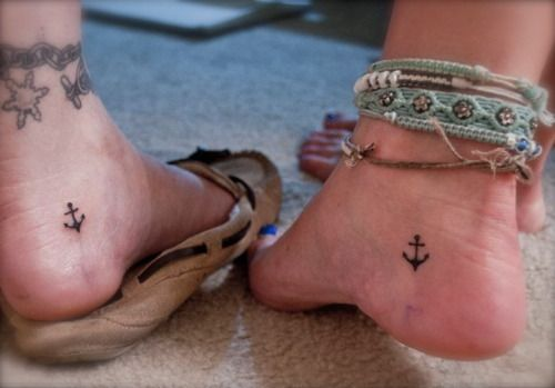 aw: Tattoo Ideas, Best Friends, Friends Tattoo, Ankle Tattoo, Feet Tattoo, Matching Tattoo, A Tattoo, Tattoo Design, Anchors Tattoo