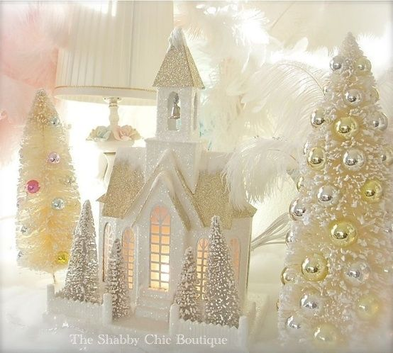 Shabby Xmas Chic Lit Putz Village Home & Bottle Brush Trees Vintage White New by liliana