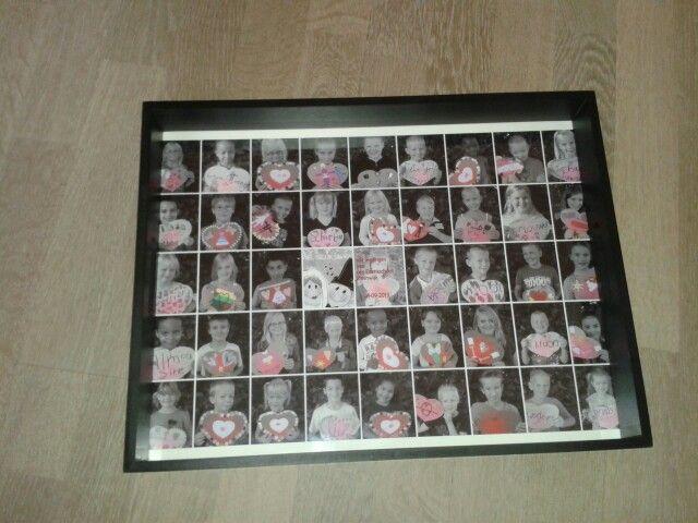 Een collage van alle kinderen,  in een dienblad.  Deze was voor een collega die ging trouwen,  maar ook geschikt als einde schooljaar cadeau.