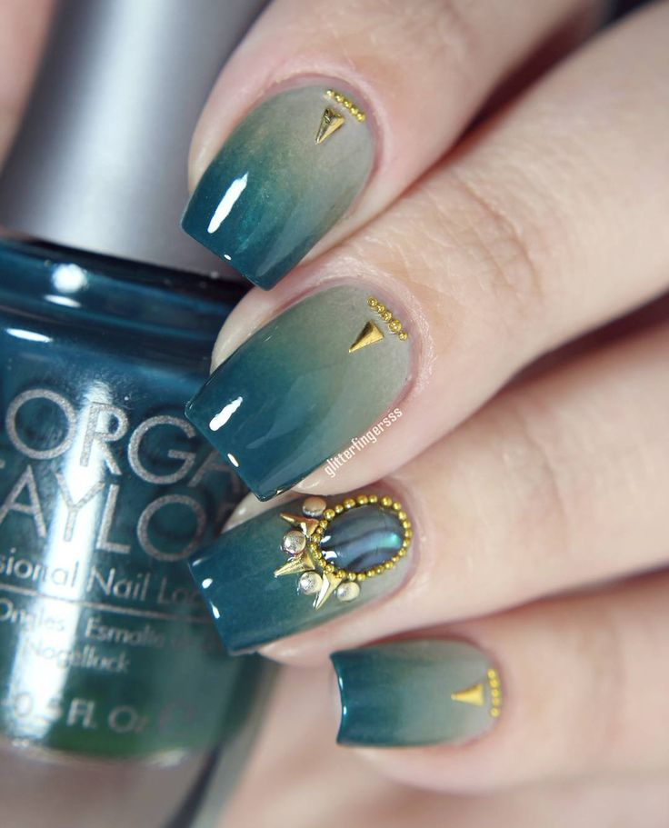 """bejeweled with gold studs and """"stone"""" #nailart"""