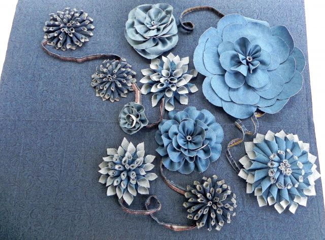 'Denim Blue Jeans'  Fabric Flowers
