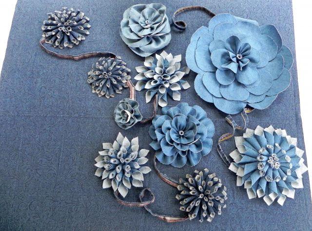 'Denim Blue Jeans' Fabric Flowers