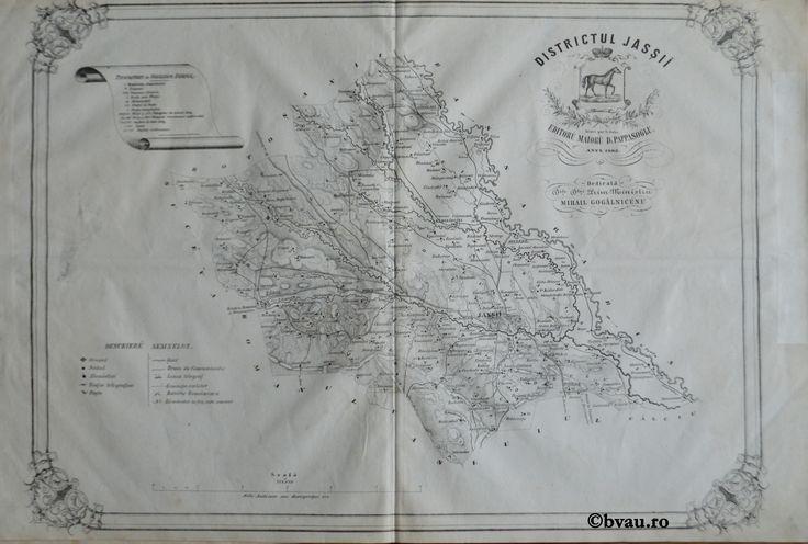 """Districtul Jasșii, întocmit şi editat de Maior D. Pappasoglu, 1863. Imagine din colecțiile Bibliotecii """"V.A. Urechia"""" Galați."""