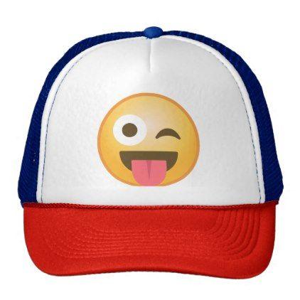 #trendy - #Winking Tongue Emoji Trucker Hat