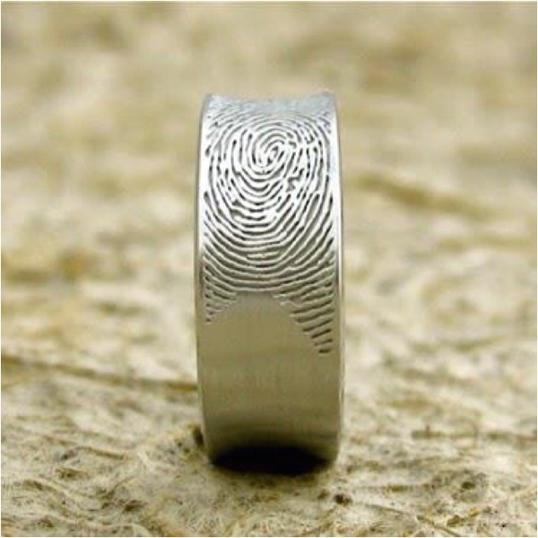 Mens wedding band with the brides finger print...cool