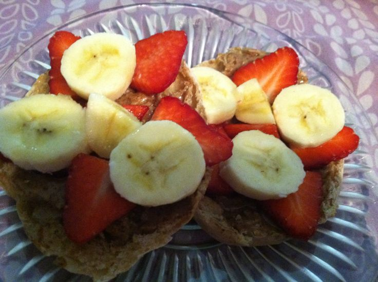 Almond Butter, Strawberries, & Bananas on a Multigrain English Muffin