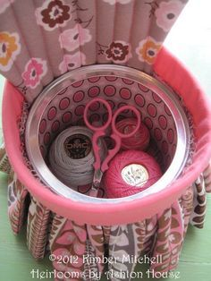My chair pincushion doubles as a handy sewing box. Just open up the seat to stash your sewing supplies. Daisy Cottage fabrics.